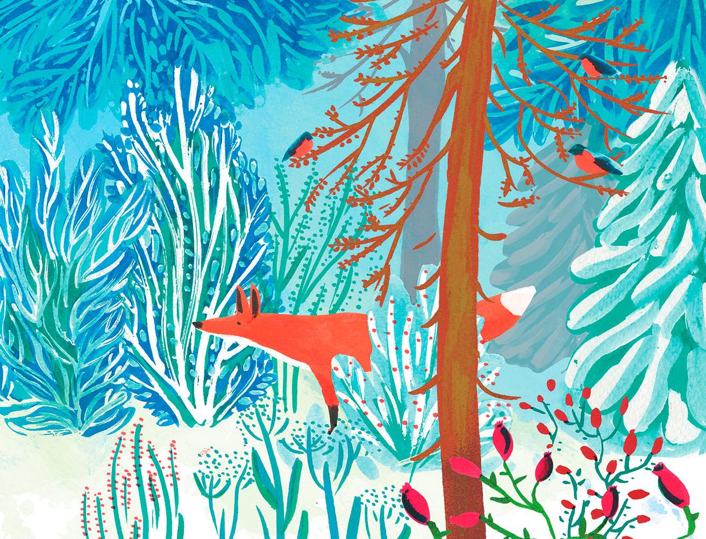 Zima Nieni zimowy las ilustracja Marta Krzywicka